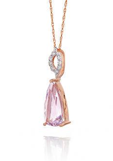 Belk & Co. 14k Rose Gold Pink Amethyst and Diamond Pendant