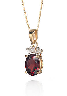 Belk & Co. 14k Yellow Gold Garnet and Diamond Pendant