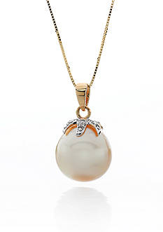 Belk & Co. 14k Yellow Gold Golden South Sea Pearl and Diamond Pendant