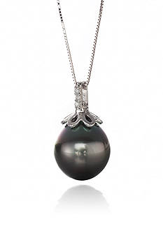 Belk & Co. 14k White Gold Tahitian Pearl and Diamond Pendant