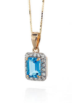 Belk & Co. 14k Yellow Gold Blue Topaz and Diamond Pendant
