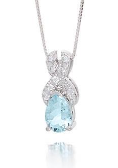 Belk & Co. Aquamarine Gemstone and Diamonds Pendant Set 14K White Gold