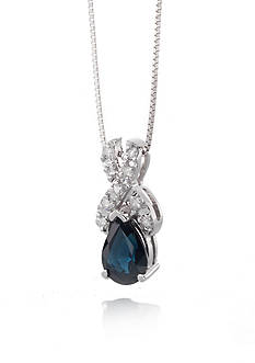 Belk & Co. 14k White Gold Sapphire and Diamond X Pendant