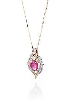 Belk & Co. 14k Yellow Gold Ruby and Diamond Pendant