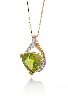 Belk & Co. 14k Yellow Gold Peridot and Diamond Pendant