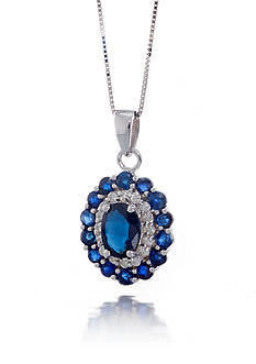 Belk & Co. Sapphire and Diamond Pendant in 14k White Gold