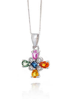 Belk & Co. 14k White Gold Multi Color Sapphire and Diamond Pendant