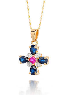 Belk & Co. 14k Yellow Gold Ruby, Sapphire and Diamond Cross Pendant