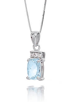 Belk & Co. Aquamarine Gemstone with Diamonds Pendant Set in 14K White Gold