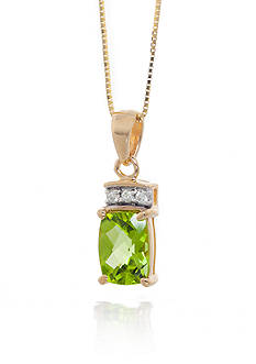 Belk & Co. Peridot and Diamond Pendant in 14k Yellow Gold