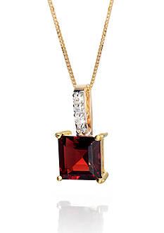 Belk & Co. Garnet and Diamond Accent Pendant in 14k Yellow Gold