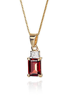 Belk & Co. Garnet and Diamond Accent Pendant in 14k Yellow Gold