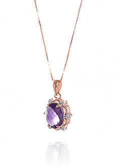 Belk & Co. Amethyst and Diamond Accent Pendant in 14k Rose Gold