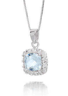 Belk & Co. Aquamarine Cushion Gemstone with Halo Diamonds Pendant Set in 14K White Gold