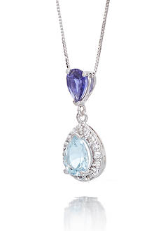 Belk & Co. Aquamarine & Iolite Gemstones with Halo Diamonds Pendant Set in 14K White Gold