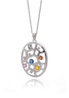 Belk & Co. Multicolored Sapphire and Diamond Pendant in Sterling Silver