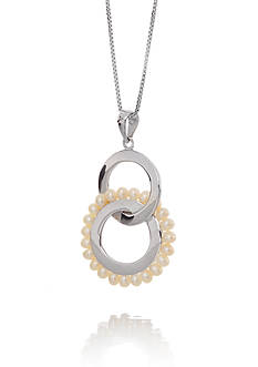 Belk & Co. 2 Circles Freshwater Pearl Pendant Necklace