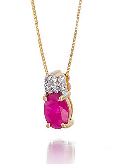 Belk & Co. Oval Cut Ruby with Diamond Accent Pendant Set in 14K Yellow Gold