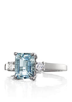 Belk & Co. Aquamarine Emerald Cut with Side Diamonds Ring set in 14K White Gold