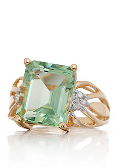Belk & Co. Mint Quartz and Diamond Ring in 14k Yellow Gold