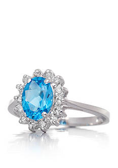 Belk & Co. Blue Topaz and Diamond Ring in 14k White Gold