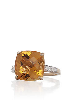 Belk & Co. 14k Yellow Gold Citrine and Diamond Ring