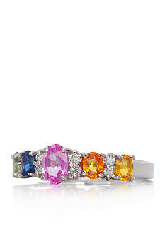 Belk & Co. 14k White Gold Multi Color Sapphire and Diamond Band