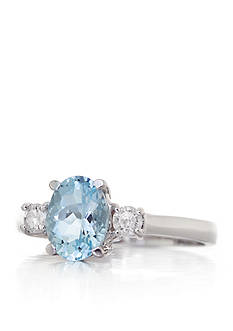 Belk & Co. 14k White Gold Aquamarine and Diamond 3 Stone Ring
