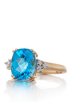 Belk & Co. Blue Topaz and Diamond Ring in 14k Yellow Gold