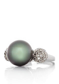 Belk & Co. 14k White Gold Tahitian Pearl and Diamond Ring