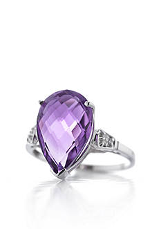 Belk & Co. 14k White Gold Amethyst and Diamond Ring