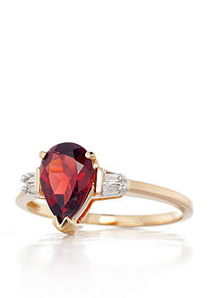 Belk & Co. 14k Yellow Gold Garnet and Diamond Ring