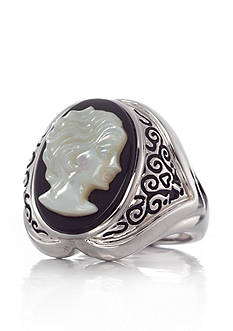 Belk & Co. Sterling Silver Mother of Pearl and Onyx Cameo Ring
