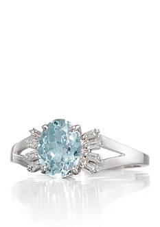 Belk & Co. 14k White Gold Aquamarine and Diamond Ring