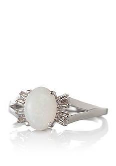 Belk & Co. 14k White Gold Opal and Diamond Ring