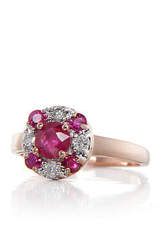Belk & Co. Ruby and Diamond Ring in 14k Rose Gold