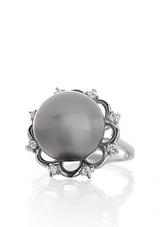 Belk & Co. 14k White Gold Black Tahitian Pearl and Diamond Ring