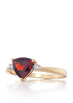 Belk & Co. 14k Yellow Gold Garnet and Diamond Ring