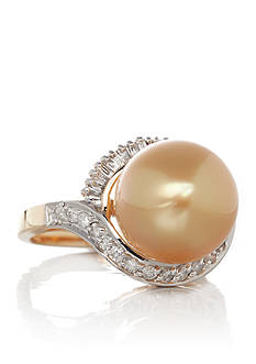 Belk & Co. 14k Yellow Gold Golden South Sea Pearl and Diamond Ring