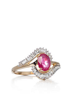 Belk & Co. 14k Yellow Gold Ruby and Diamond Swirl Ring
