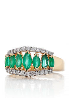 Belk & Co. 14k Yellow Gold Emerald and Diamond Ring