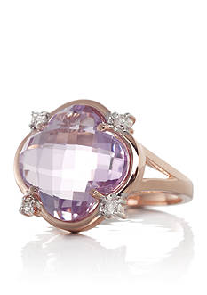 Belk & Co. 14k Rose Gold Pink Amethyst and Diamond Clover Ring