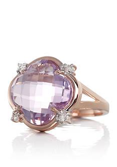 Belk & Co. 14k Rose Gold Pink Amethyst and Diamond Clover Ring