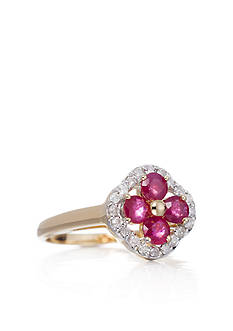 Belk & Co. 14k Yellow Gold Ruby and Diamond Clover Ring