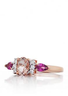 Belk & Co. Morganite, Rhodolite Garnet and Diamond Ring in 14k Rose Gold