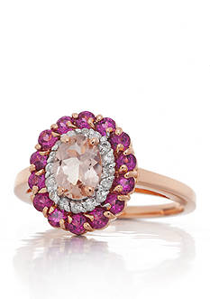 Belk & Co. Morganite, Rhodolite Garnet and Diamond Ring in 14k Rose Gold