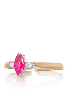 Belk & Co. Marquise Cut Ruby and Diamonds Ring Set in 14K Yellow Gold
