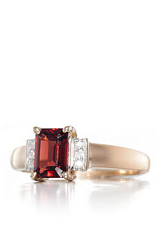 Belk & Co. Garnet and Diamond Ring in 14k Yellow Gold