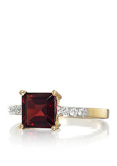 Belk & Co. Garnet and Diamond Accent Ring in 14k Yellow Gold