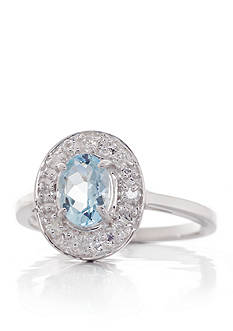 Belk & Co. Aquamarine and Diamond Ring in 14k White Gold